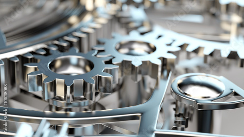 Fotografía  Viele Zahnräder in Maschine oder Motor