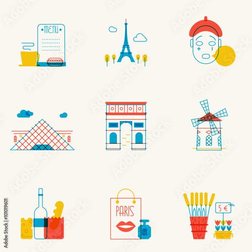 Photo  Set of linear Paris icons.