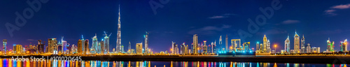 In de dag Dubai Night panorama of Dubai Downtown - the UAE