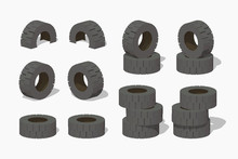 Old Rubber Tires. 3D Lowpoly I...