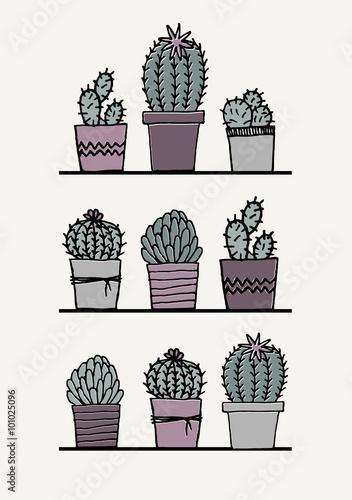 Fotografija  Hand Drawn Cactus Poster
