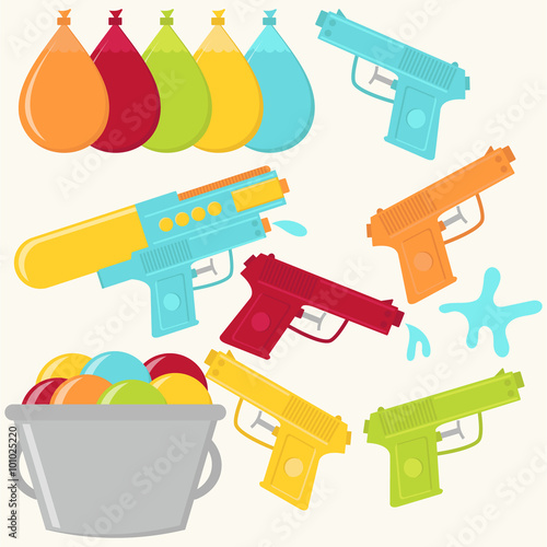 Vector Water Guns And Water Balloons Buy This Stock Vector And