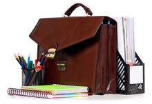 Brown Leather Briefcase With Office Accessories