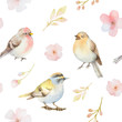 Birds and spring flowers watercolor seamless pattern.