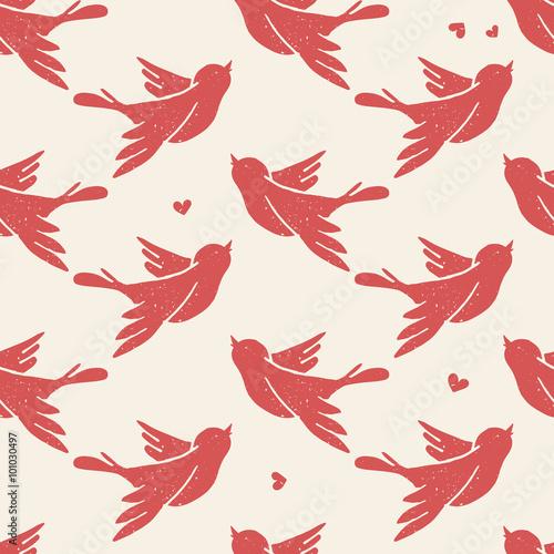 Poster Geometrische dieren Seamless pattern with doves