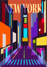 Abstract Illustration Of A Street In New York City. Vector