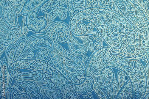 Obraz na plátně Vintage blue wallpaper with paisley pattern
