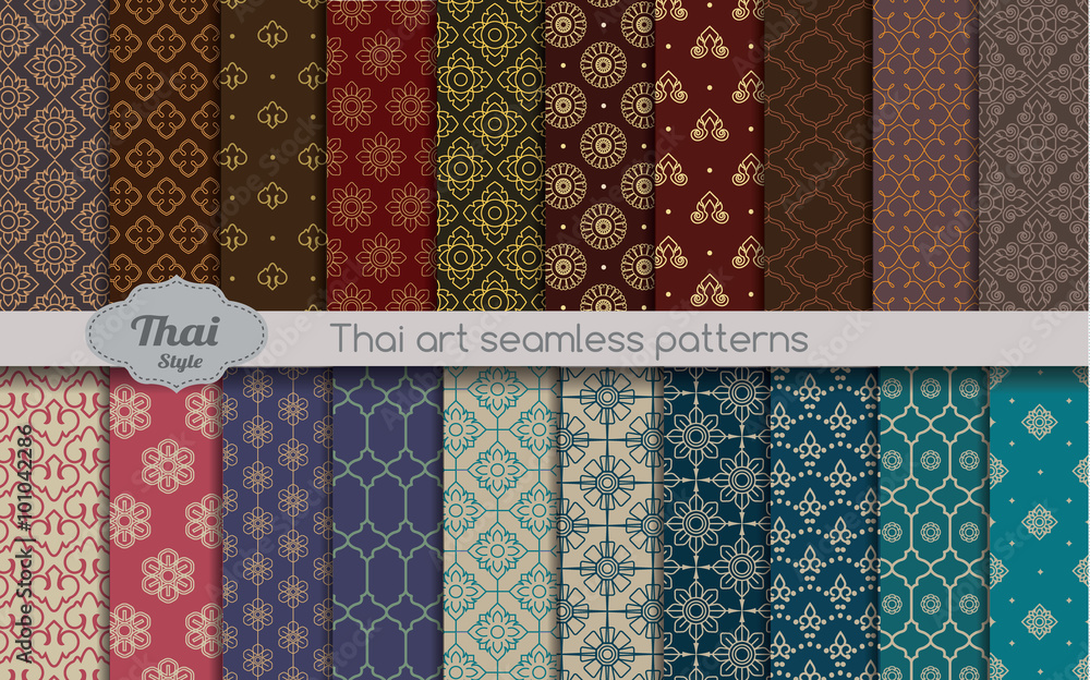 vector damask seamless pattern background. thai style seamless pattern, pattern swatches included for illustrator user, pattern swatches included in file, for your convenient use.