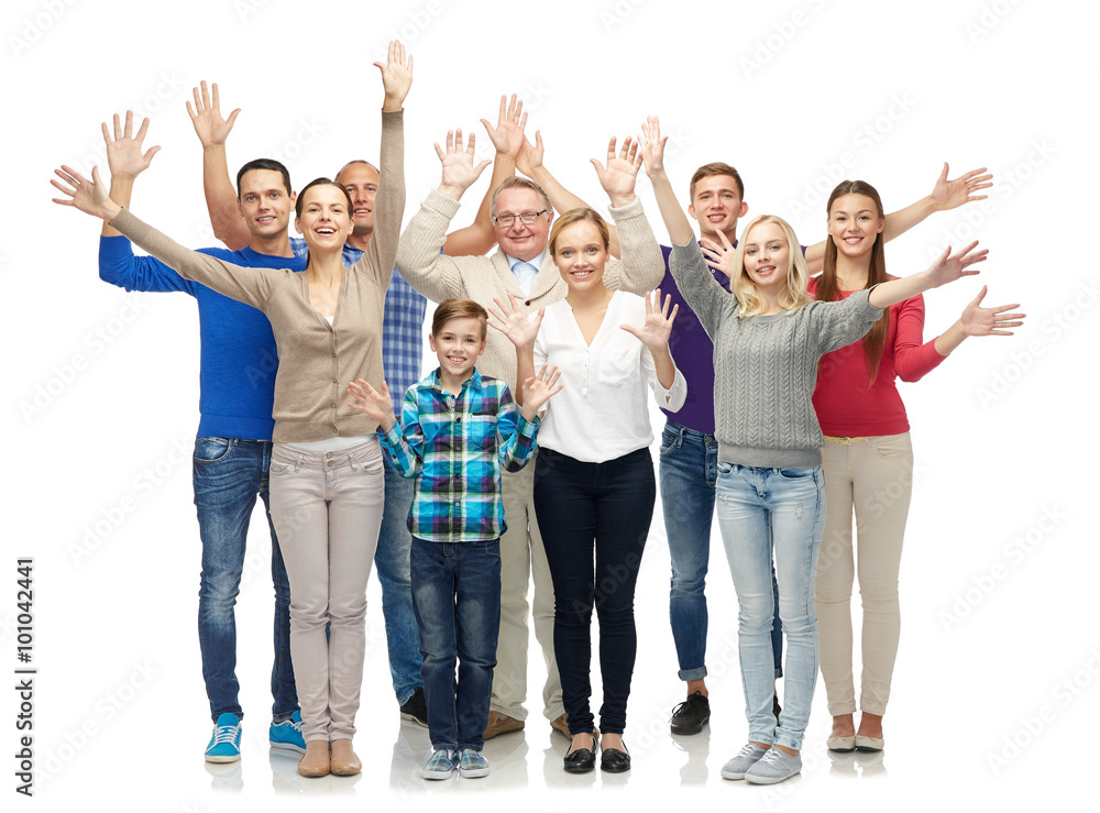 Fototapety, obrazy: group of smiling people waving hands