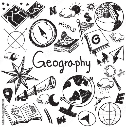 Fotografia  Geography geology education handwriting doodle icon of earth exploration and map