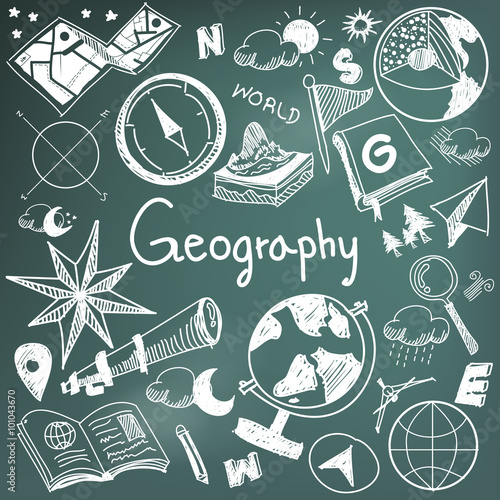 Fotografie, Tablou  Geography geology education subject doodle icon earth exploration and map design