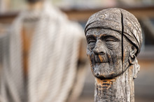 Wood Pirate Face Carved Statue