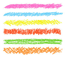 Wax Crayon Hand Drawing Design Elements Set. Colorful Pastel Chalk Stripes. Vector Chalk Lines.