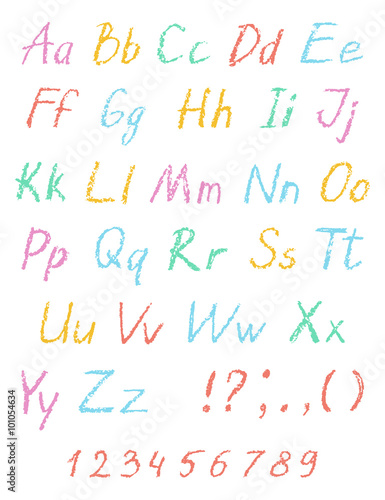 Wax crayon child's drawing alphabet. Pastel chalk font. ABC drawing letters. Kids drawn