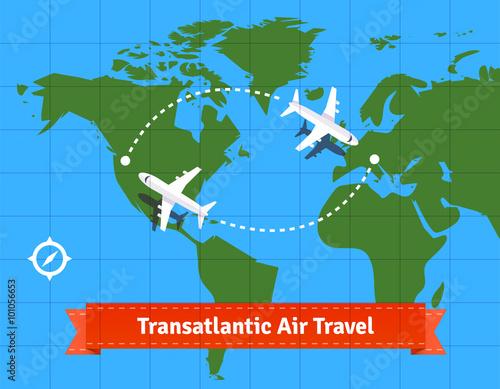 Fotografie, Obraz  Transatlantic jet plane travel concept