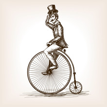 Man On Retro Vintage Old Bicycle Sketch Vector