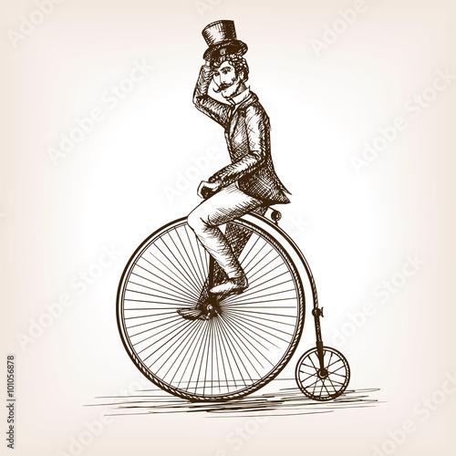 mezczyzna-na-retro-rocznika-starym-rowerowym-nakreslenie-wektorze