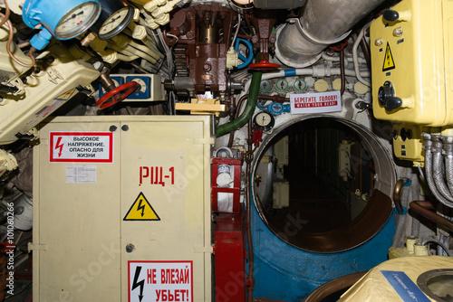 Keuken foto achterwand Route 66 the submarine inside in Kaliningrad
