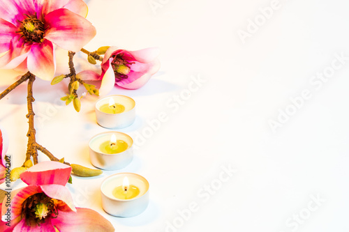 Photo Stands Floral woman Spa flowers and candles on white background