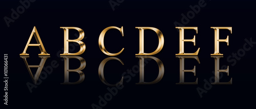 "Photographie  Golden alphabet from "" A"" to ""F"" on a black background"