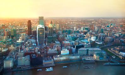 LONDON, UK - JANUARY 27, 2015:  London aerial view at dusk