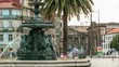 Fountain near the plaza where is located Carmo church in Porto, Portugal timelapse