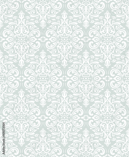 Fototapety, obrazy: Damask seamless ornament. Traditional vector light blue and white pattern. Classic oriental background