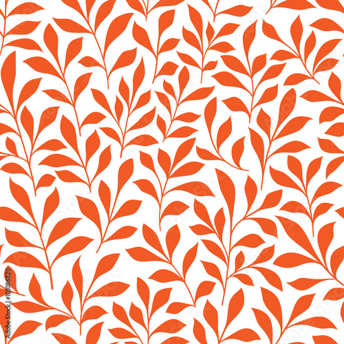 Seamless orange wild herbs pattern Wall mural