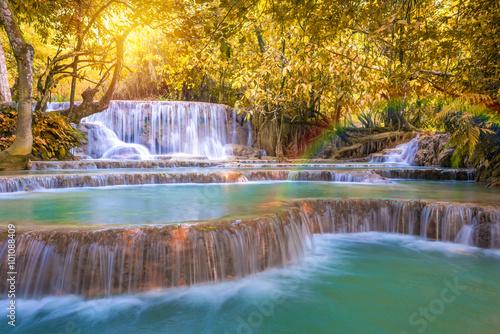 Waterfall in rain forest (Tat Kuang Si Waterfalls at Luang praba © weerayut