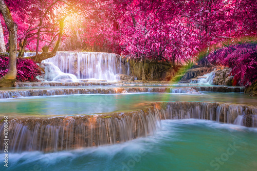 Poster Cascades Waterfall in rain forest (Tat Kuang Si Waterfalls at Luang praba