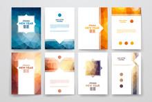 Set Of Brochures In Poligonal ...