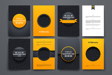 Vector Brochures With Doodles Backgrounds On Valentine's Day Theme