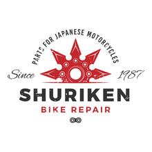 Japan Bike Repair Service Logo Concept. Ninja Weapon Insignia Design. Vintage Shuriken Badge. Motorcycle Parts T-shirt Illustration.
