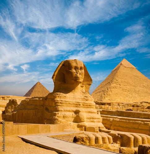 Obraz na płótnie Full Sphinx Profile Pyramids Walkway Giza