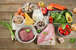 Assortment of Fresh Vegetables and Meats for Healthy Diet on wo