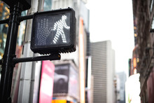 Crosswalk Ok Sign On A Manhattan Traffic Light - New York City.