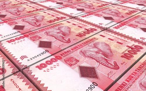 Tanzanian Shilling Bills Stacks Background Computer Generated 3d