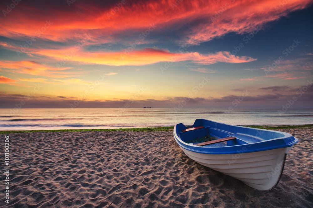 Fototapeta Boat and sunrise