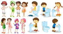 Boys And Girls In Bathrobe