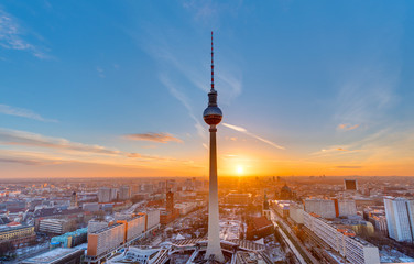 FototapetaBeautiful sunset with the Television Tower at Alexanderplatz in Berlin
