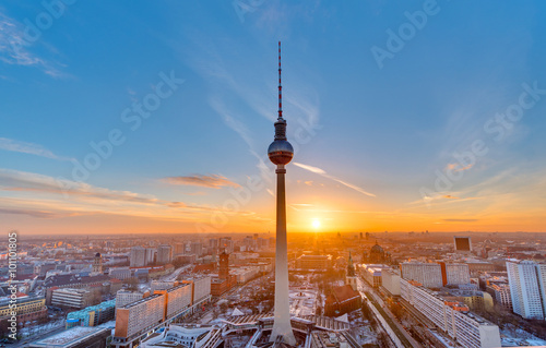 Beautiful sunset with the Television Tower at Alexanderplatz in Berlin