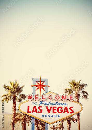 Retro stylized Welcome To Las Vegas Sign with copy space.
