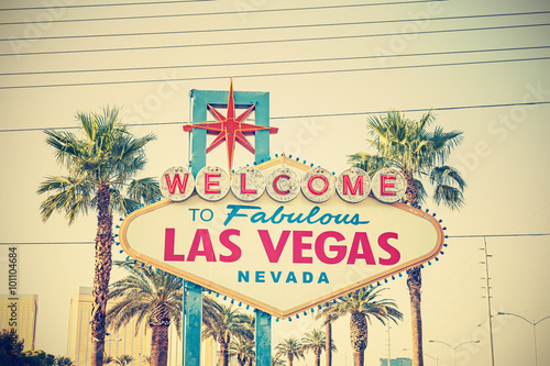 Poster Las Vegas Cross processed photo of the Welcome To Las Vegas Sign, USA.