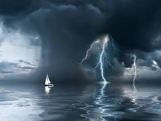 Fototapeta Industrialny Thunderstorm and yacht at the ocean
