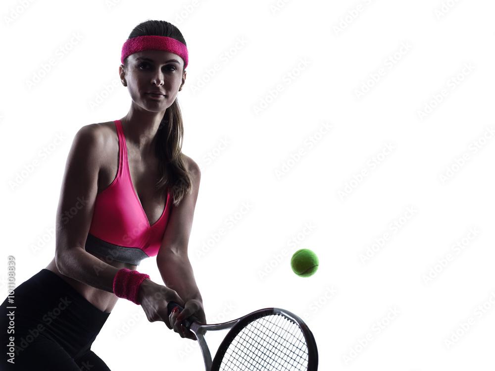 Femme joueur de tennis portrait silhouette Poster