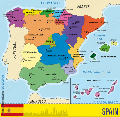 Fotografia  Detailed vector map of Spain with all regions and airports