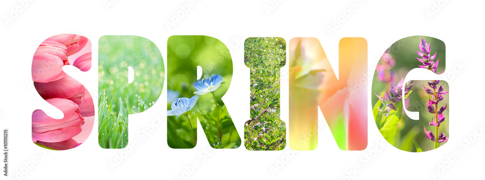 Fototapety, obrazy: Word Spring with colorful nature images inside the letters,