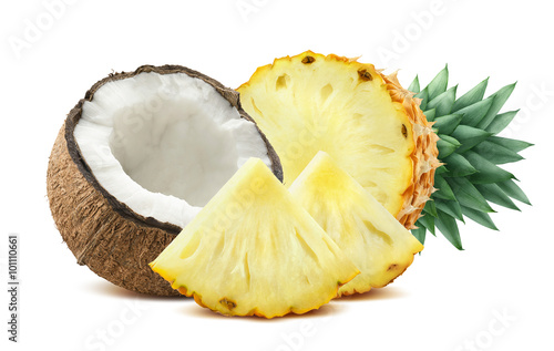 Pineapple coconut pieces composition 2 isolated on white backgro