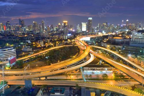 thailand, aerial, downtown, street, car Poster
