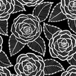 black and white pattern in roses and leaves lace.
